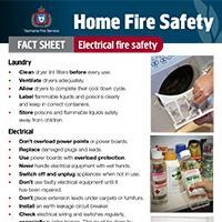 Home Fire Safety Fact Sheet - Electrical fire safety
