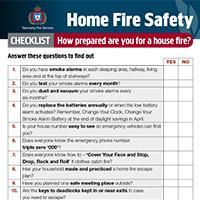 Home Fire Safety Fact Sheet - Checklist