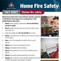 Home Fire Safety Fact Sheet - Kitchen fire safety